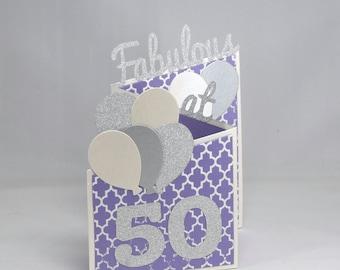 Purple Fabulous at 50 Birthday Card
