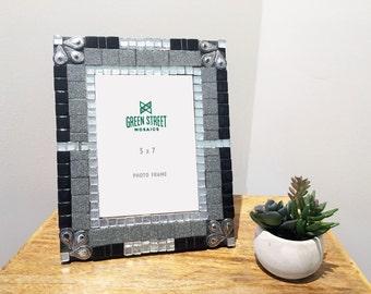 5 x 7 Black and Silver Picture Frame / Art Decor Home Decor / Gift Idea