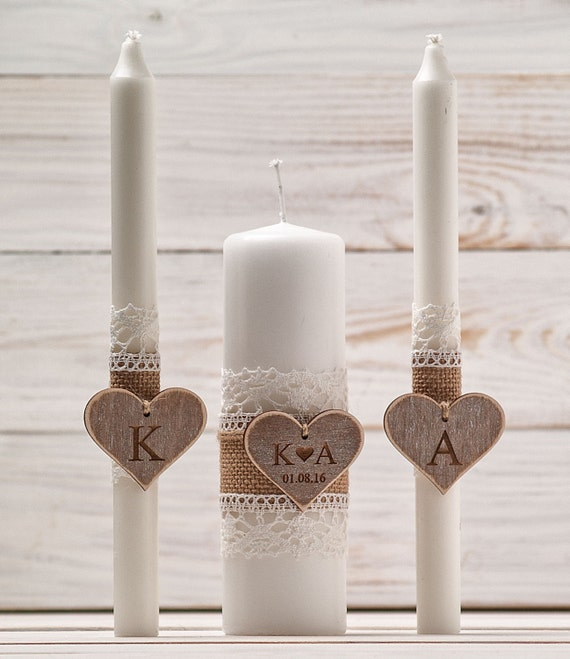 Wedding Unity Candle Set Rustic Unity Candle Church Ceremony