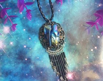 Cosmic dangle Titanium aura quartz necklace