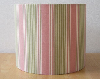 Pink, Green and Cream Vertical Striped  Lampshade - Suits UK / European Light Fittings,