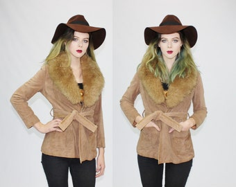 1970s Almost Famous Boho Sheepskin Fur Collar Cropped Suede Wrap Around Jacket