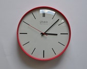 "RESERVED for R. 10.5"" diameter Vintage German Wall Clock from Glashuette. Cherry Red. Kitchen Clock. Industrial.  Made in former GDR."