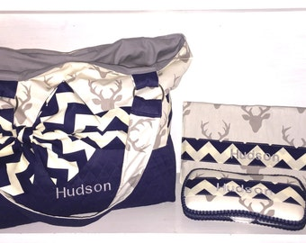 Personalized Diaper Bag In Navy Quilt And Grey Buck Print With Navy Chevron Bow/Sash.  Hello Bear Buck Forest Silver Diaper Bag.