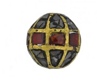 Mosaic Raw Black Diamond Red Enamel Round Bead, 10mm Raw Black Diamond Mosaic Bead with Red Enamel