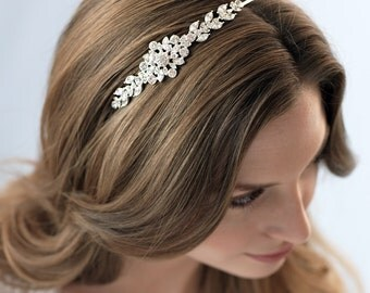 Rhinestone Bridal Headband, Bridal Hair Accessory, Crystal Bridal Headband, Crystal Headband, Bridal Headpiece,Bridal Side Headband ~TI-3213