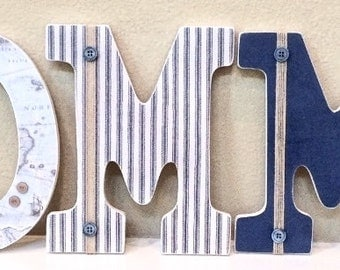 Nautical Nursery Letters, Nautical Room Decor, Map, Anchor, Wooden Letters, Wall Letters, Hanging Letters, Nautical Baby Shower