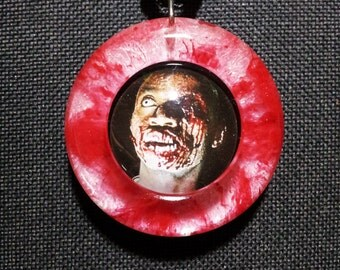 Zombie Pendant in Red and White Pearl Resin + Free Shipping Worldwide, Zombie Pendant, Zombie necklace, Halloween Jewelry