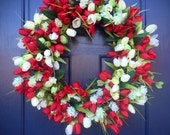 Tulip Wreaths, Spring Tulip Door Wreath, Red and White, Spring Door Wreaths, Floral Wreaths, Red Tulips, White Tulips, Mothers Day Gift