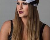 Yoga Headband - Striped Black and White Headband - Running headband head wrap by Manda Bees - No Slip Fitness Workout Headband - VOID