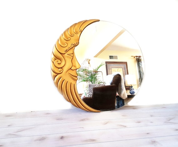 Large Round Gold Mirror: Gold Moon Mirror Large Round Vintage 39 Gold Half Moon