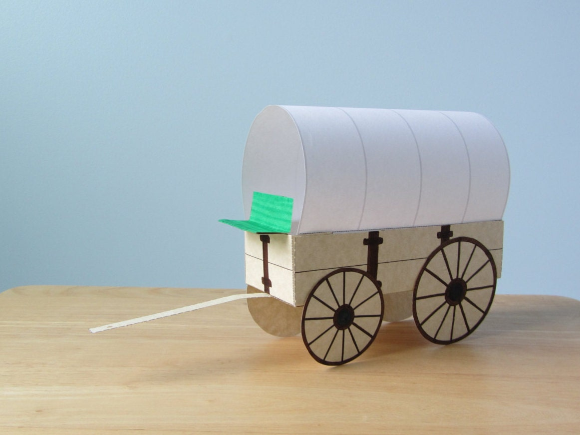 3d covered wagon instant download template