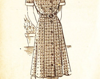 Mail Order 4726 Misses' Vintage 1940s Shirtwaist Dress Sewing Pattern
