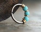 Gilded, Turquoise-blue Beaded Niobium Nose Ring Hoop, Beaded Piercing Jewelry, Niobium & 14/20 Goldfilled Wire, Boho Nose Jewelry