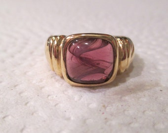 Estate Piece -  Beautiful Art Deco 18kt Yellow Gold Plated Purple GLASS MARBLE Ring thick heavy Stunning Color High-End Quality Signed AFJ