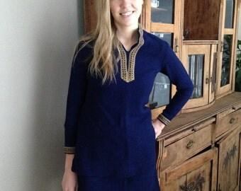 Vintage blue costume 2 piece women suit with golden details Handsewn ladies costume Mini Skirt tunic set