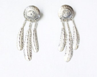 Sterling silver earrings, dreamcatchers, dangle, feather, navajo, indian, vintage, handmade, post earrings, 925, 1970s.