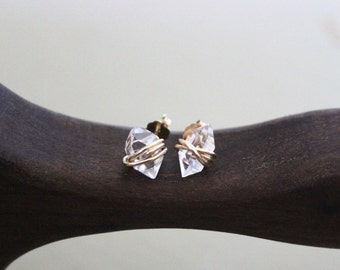 Gift - Herkimer Diamond Studs, Raw Quartz Studs, Herkimer Diamond, Herkimer Earrings, Diamond earrings, Earrings