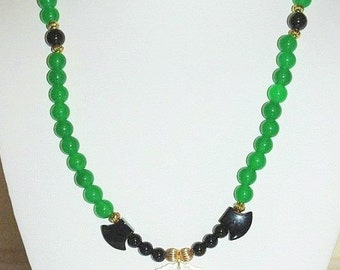 Natural Gemstone Necklace - Jade, Onyx and Mother of Pearl - S2350