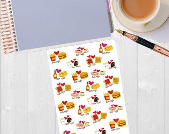 Date Night Stickers - Planner Stickers, Date Stickers, Night Out Stickers, Date Night Planner, Date Planner Stickers, Date Night Marker