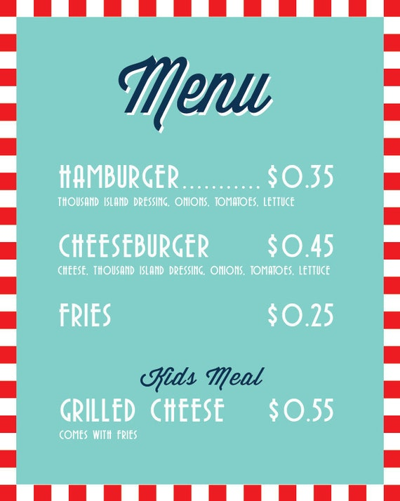 Soda Shop Retro 50s Diner Birthday Menu