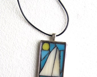 Boat mosaic necklace, stained glass jewelry, one of a kind pendant, free shipping