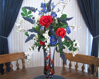 Silk Flower Arrangement in a Tall Blue and Orange Glass Vase with Blue and Orange Roses, Large Centerpiece, Home Decor, Silk Floral Arrange