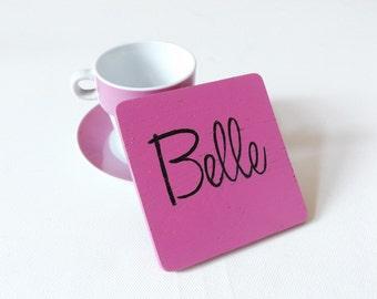 Personalised Pink Coaster - Oak Wood Coaster - Personalised Name Coaster - Wooden Coaster - Personalised Tableware - Drinkware