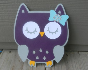 Owl Invitations - Owl Invite - Owl Invitation Set - Owl Baby Shower Invitation - Glittery Invitation - Purple Owl Invitation - Winter Invite