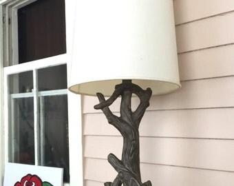 midcentury rustic tree trunk lamp