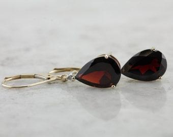 Stunning Deep, Wine Red Garnet and Diamond Drop Earrings  VM764J-R