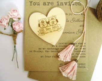 Personalized 6cm Engraved Save The Date Owl Wooden Hearts Magnet Gift Tags Wedding Decoration Bridal Shower Pack of 30 / 50