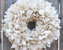 "17"" Cottage Chic Burlap Knot Rag Wreath, Wedding Wreath, Christmas Wreath, Housewarming Gift, Hostess Gift, Everyday Wreath,Rustic Wreath"