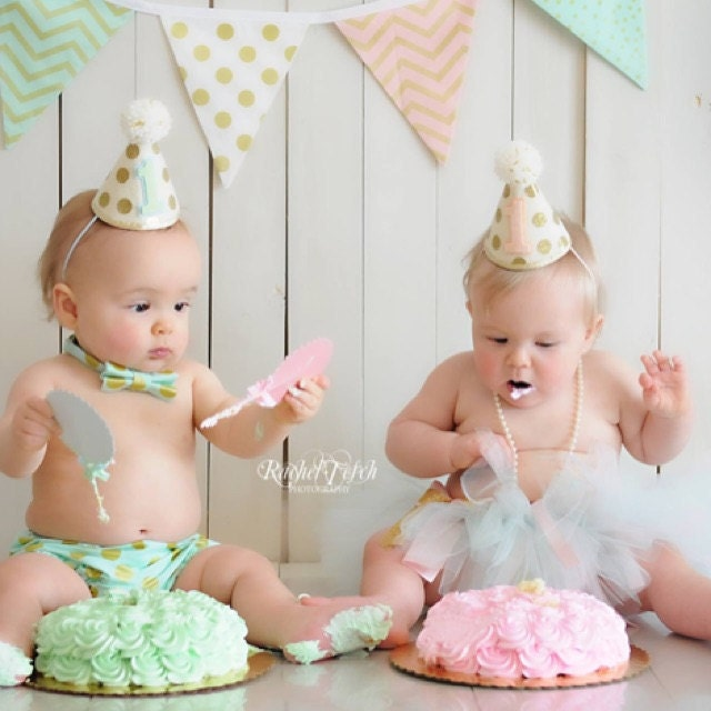 Personalised New Baby Or Birthday Card By Mint Nifty: Girl Boy Twins 1st Birthday Gold Polkadot Small Party Hats