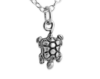 Turtle Charm Pendant Necklace #925 Sterling Silver #Azaggi N0092S