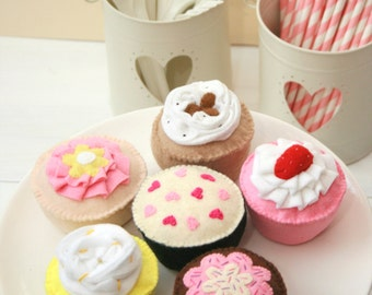 Felt Food Beautiful Felt Cupcakes, Play Food, Pretend Food, Handmade Gift for Children and Cupcake Lovers! Set of 6 Original Designs