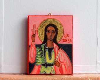 St. Fanourios art print -Religious folk art  in pink background- reproduction icon of a Greek saint- eastern orthodox painting-