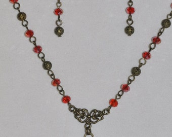 Rose Necklace Earrings Set Red Glass Crystal Antique Brass Filigree #445