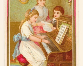 Victorian Birthday Musicmakers Card, c. 1880