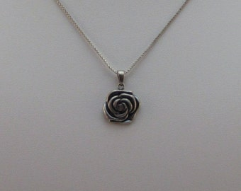 Sterling Silver Rose Necklace 19 inch chain