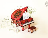 2018 DIY Printable Paper Desk Calendar Papercraft   Colorful Red Grand Piano Miniature   Gift pianist musician music lover musical friend