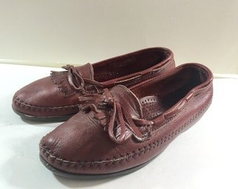 Brown Leather Fringed with Ties Moccasin/ Shoes by Dexter Ladies Size 7