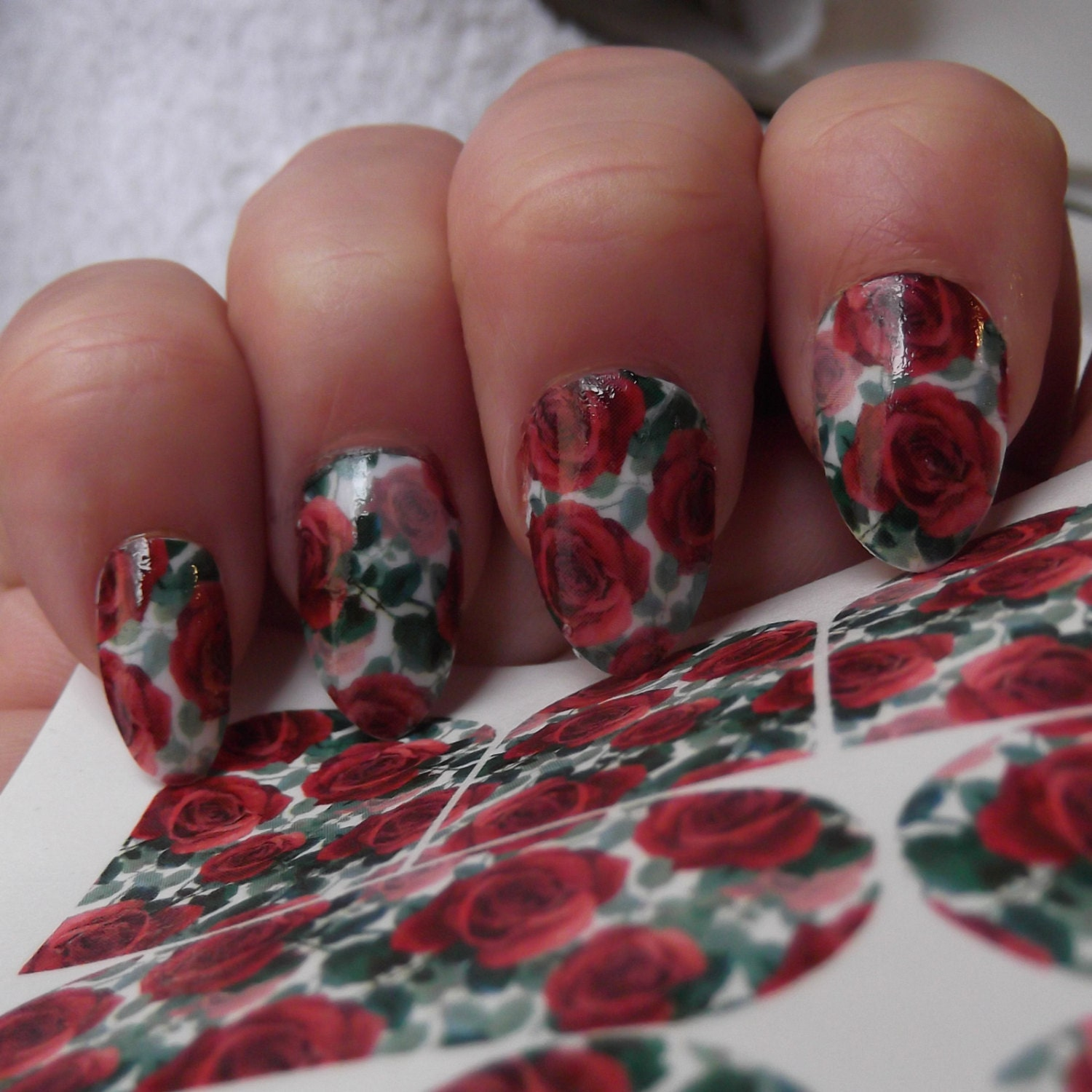RED ROSES Nail Art Decals RRF Full Nail Wrap Decoration