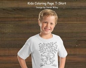 Coloring Book Page T-Shirt - Boys Fish and Bear