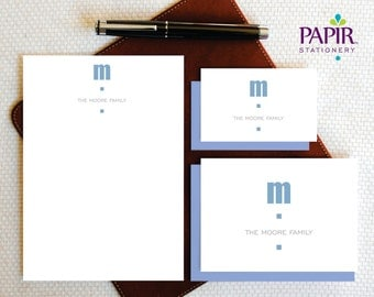 CONTEMPORARY Monogram - Personalized Family Stationery - Complete Stationery Set , Folded Note Cards and Notepad - Custom Stationery