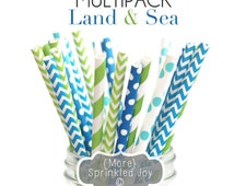 Blue & Green Paper Straws, LAND AND SEA Multipack, Blue, Aqua, Green, Chevron, Dots, Vintage, 25 Straws, 5 Designs