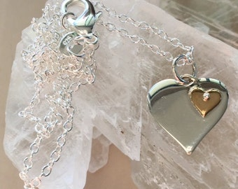 Sterling Silver and Bronze Double Heart Necklace - Heart On a Heart Silver Necklace