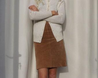 Lambswool + Angora Cardigan, Cream Super Soft Sequin Vintage Cardigan, Wool Cardigan, Boho Cardigan, Womens Boho Cardigan, Sequin, Medium