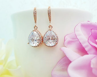 Rose Gold CZ Teardrop Earrings, Bridal Earrings, Maid of Honor, Blush Bridesmaid Gift, Anniversary Gift, Rose Gold Quinceanera, Prom, E2809