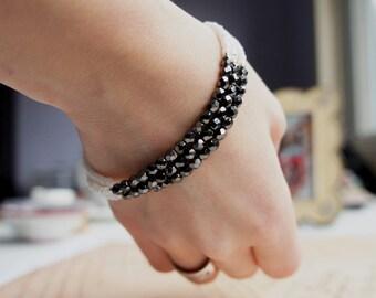 Seed Bead Bracelet, Beaded Bracelet, Multi Strand Bracelet,  Silver And Black Bracelet, Black And White Bracelet, Czech Beads Bracelet